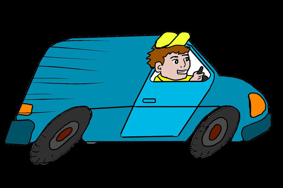 jízda v dodávce